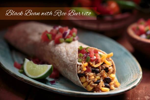 Crispy Black Bean with Rice Burrito