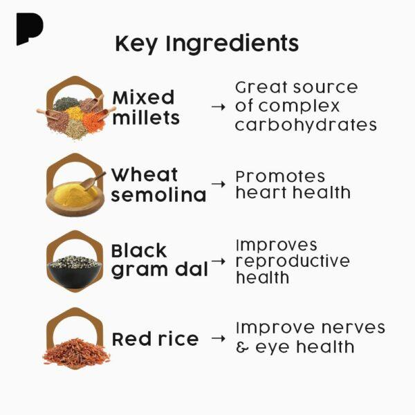Mighty Millet Idli with key ingredients