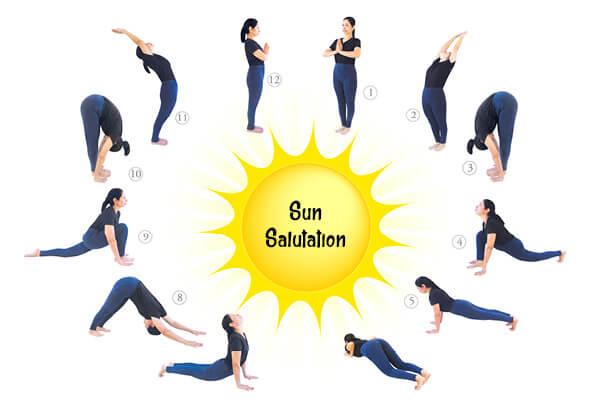 Sun Salutations are popular yogaa asanas for weight loss